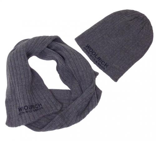Woolrich Schal & Mütze grau