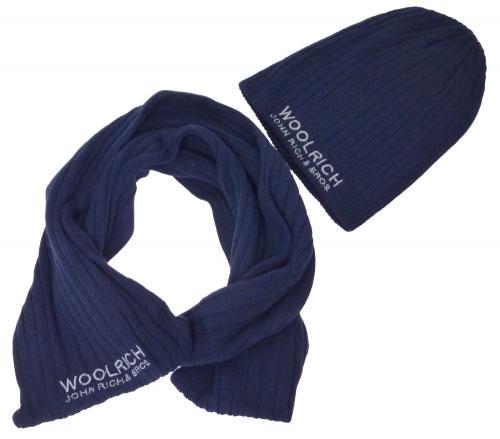 Woolrich Schal & Mütze blau